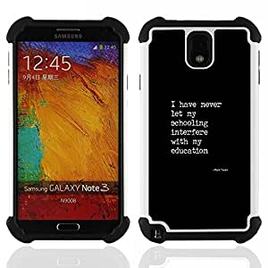 For Samsung Galaxy Note3 N9000 N9008V N9009 - black white text poster quote education Dual Layer caso de Shell HUELGA Impacto pata de cabra con im????genes gr????ficas Steam - Funny Shop -