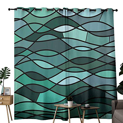 duommhome Teal Living Room Curtain Abstract Mosaic Waves Ocean Inspired Expressionist Pattern Marine Design Image Beautiful and Elegant W96 xL84 Dark Green Aqua
