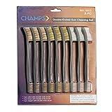 Champs 9 Pieces Double-Ended Gun Cleaning Bristle Brushes [3pcs Nylon, 3pcs Copper, 3pcs Brass]