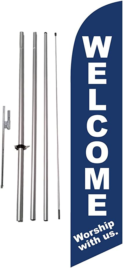 """Swooper Feather Flag Kit 15ft Real Estate /""""Welcome/"""" 15/' w// Ground Spike and Pole"""