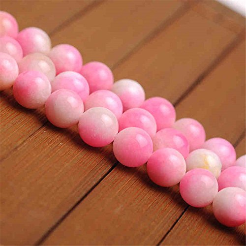 Natural Multi-Tones Pink Jade Beads Smooth Polished Round 6mm-12mm 15.4 Inch Full Strand for Jewelry Making (GJ27) (Pink Jade Round Beads)