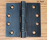 Bulk Commercial Door Hinges - 50 Pack - Oil Rubbed Bronze Ball Bearing - 4 Inch Square - Non-Removable Pin