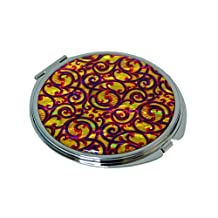 Mother of Pearl Yellow Arabesque Design Double Compact Cosmetic Makeup Magnifying Purse Pocket Handbag Mirror