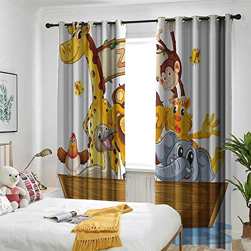 Kids Living Room/Bedroom Window Curtains Illustration of Boat Full of Cartoon Style Cute Animals Zoo Theme Lion Giraffe Monkey Embossed Thermal Weaved Blackout 72