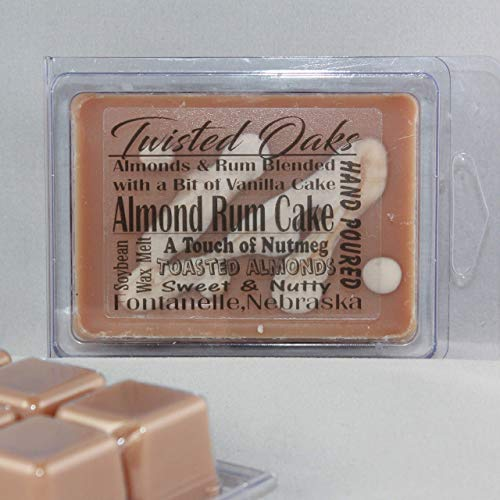 Almond Rum Cake Scented. Toasted Almonds, Rum, Nutmeg and Vanilla Cake Scent. Soybean Blend Wax Melt. Hand Poured by Twisted Oaks Wax Works, Nebraska.
