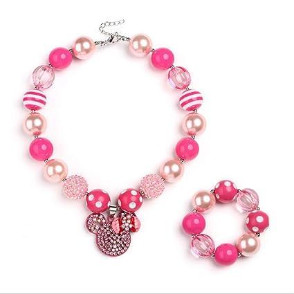 576f87d3e168 Set de joyas para niñas pequeñas Princesa rosada Estilo de dibujos ...