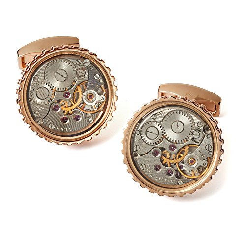 Tateossian Mechanical Skeleton Gear Round-RT Cufflinks - Rose Gold and Burgundy