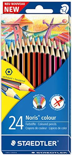 STAEDTLER - Noris Colour 185 - Double Layer 24Colour Wopex Crayons Cardboard Case Assorted Colours (Crayons Staedtler)