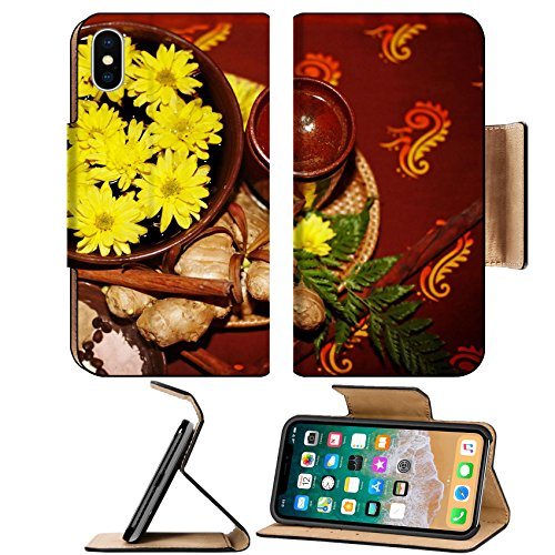 MSD Premium Apple iPhone X Flip Pu Leather Wallet Case IMAGE ID: 6283871 Spa still life with flower and spice on brown background (Spice Spa)