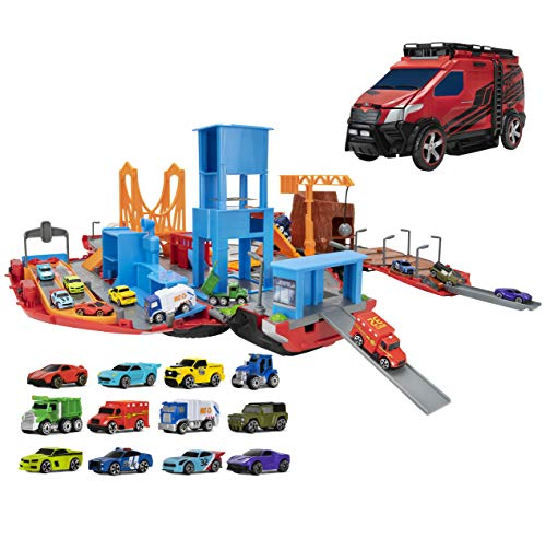 Micro Machines Super Van City Playset - Includes 12 MM Vehicles, Working Bridge, Construction Site, High Rise Building, Drag Strip, Ramps - Collect Them All - Amazon Exclusive
