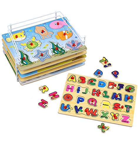 (Etna Products Wooden Puzzles For Toddlers - 6 Colorful Wood Knob / Peg Puzzles, Ideal for Your Baby/Toddler - Fun & Educational - Includes Kids Alphabet Puzzle, ABC Puzzle, Shape Puzzle, Puzzle Rack)