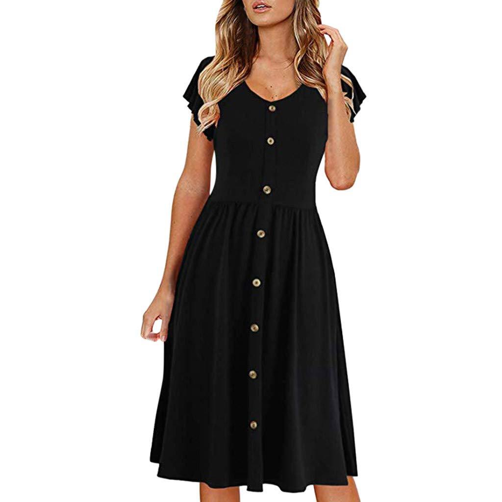 IEasⓄn Women's Pleated Dress Summer Sundress Short Sleeve Button Down Dress Casual Fashion Dress in Summer