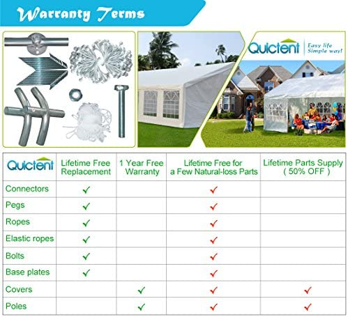 Quictent 20 x 40 Upgraded Galvanized Heavy Duty Gazebo Party Wedding Tent Canopy Carport Shelter with 8 Carry Bags 20×40, White