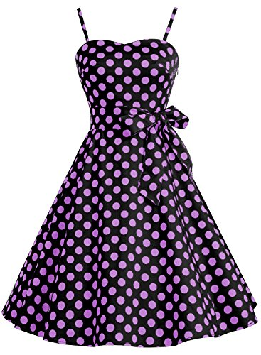 Retro Estilo Cóctel de Purple 50s Bbonlinedress Vestido Rockabilly Lunares Big Mujer Dot Black de qRXEIw