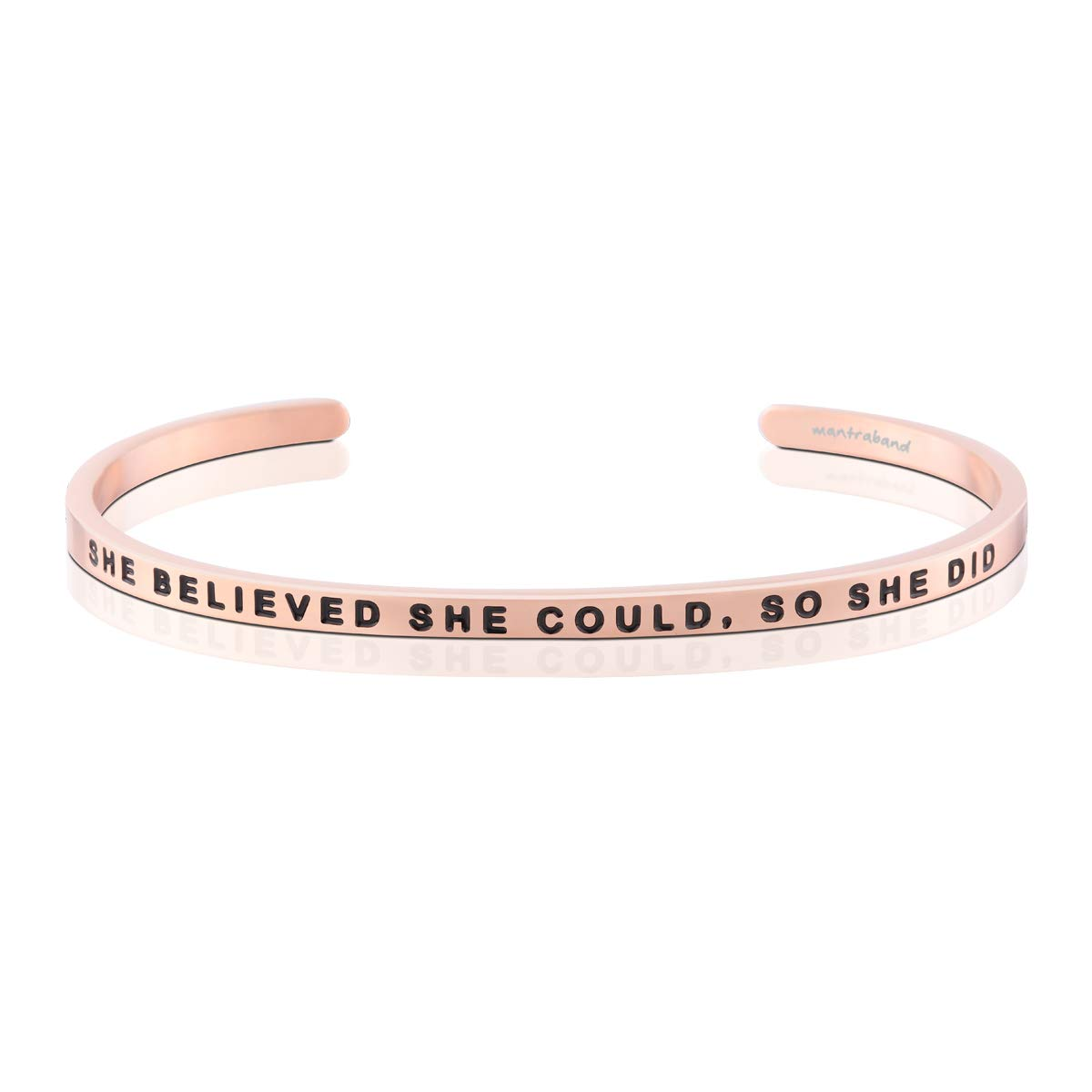 MantraBand Bracelet - She Believed She Could, So She Did - Inspirational Engraved Adjustable Mantra Cuff - Rose Gold - Perfect Little Gift (Rose Gold)
