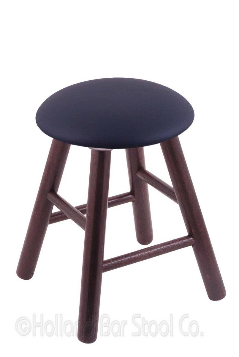 Oak Vanity Stool in Dark Cherry Finish with Allante Dark Blue Seat