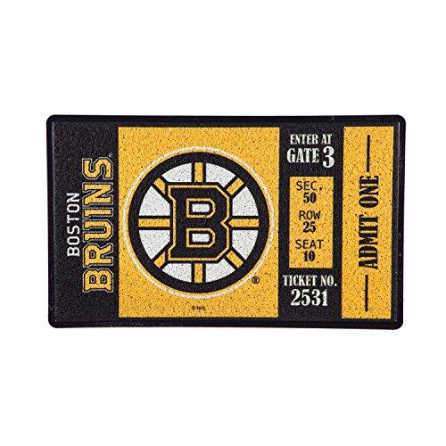 (Team Sports America Boston Bruins Recyclable PVC Vinyl Indoor/Outdoor Weather-Resistant Team Logo Door Turf Mat)