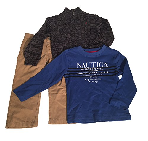 Nautica Baby Boys 3 Piece Set, Sweater/Shirt/Pants, (3 Piece Set Sweater Shirt)