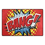 Florence Amazing BANG! Comic Word Area Rug Non-Slip Doormats Carpet Floor Mat for Living Room Bedroom 60 x 39 inches