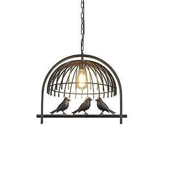 Creativo Pájaro Colgante de luz Negro Planchar Jaula Diseño ...