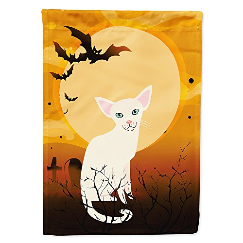 Caroline's Treasures BB4445GF Garden Size Halloween Foreign White Cat Flag, Multicolor, Small