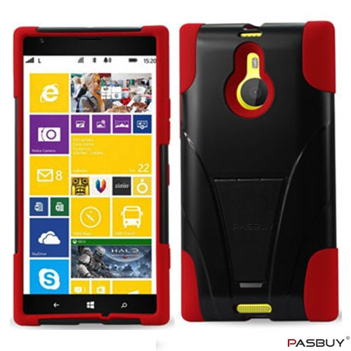 PASBUY® Red/Black Premium Hybrid New Type Kickstand Silicon Case and Plastic Cover Retail Packaging For Nokia Lumia 1520