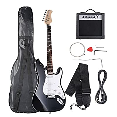 Goplus Blue Full Size 4 String Electric Bass Guitar with Strap Guitar Bag Amp Cord