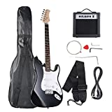Goplus Electric Bass Guitar Full Size with Strap Guitar Bag Amp Cord and Electric Guitar Amp (Black Guitar 6 Straps with Amp)
