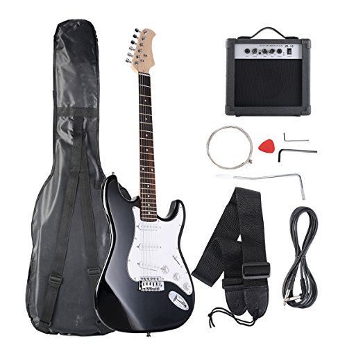 Goplus Electric Bass Guitar Full Size with Strap Guitar Bag Amp Cord and Electric Guitar Amp (Black with Amp)