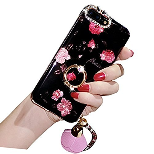iPhone 6 Plus Crystal TPU Case,Inspirationc Diamond iPhone 6S Plus Case Bling Glitter Rhinestone Soft Silicone Rubber Bumper Case with 360 Ring Stand Holder for iPhone 6 Plus/6S Plus--Strap Rose