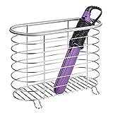 mDesign Hair Dryer & Flat Iron Holder for Bathroom - Brushed...