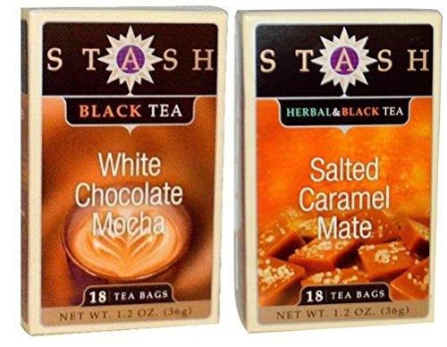 Stash Black Tea 2 Flavor Variety Bundle, (1) each: Salted Caramel Mate, and White Chocolate Mocha (1.2 -