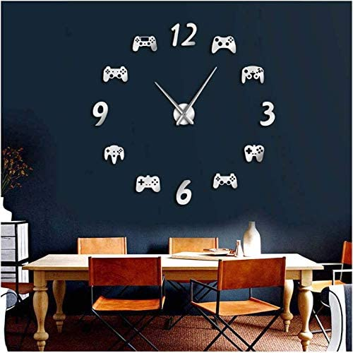 Amazon Com Wpfzh Acrylic Wall Clock Video Game Controllers Diy Large Wall Clock Game Room Decor Modern Design Giant Wall Clock Game Boys Room Wall Watch Silver 47inch Home Kitchen