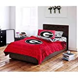 4pc NCAA University Georgia Bulldogs Comforter Twin Set, College Foot Ball Themed, Unisex, Team Spirit, Red, Fan Merchandise, Sports Patterned Bedding, Team Logo