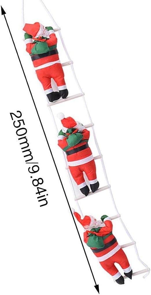 Candybarbar Navidad Papá Noel Subiendo Escaleras Decoración Árbol de Navidad Adorno Papá Noel Dando Regalos Colgantes: Amazon.es: Hogar