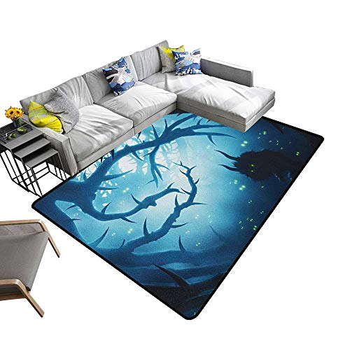 (Mystic Custom Pattern Floor mat Animal with Burning Eyes in The Dark Forest at Night Horror Halloween Illustration 78