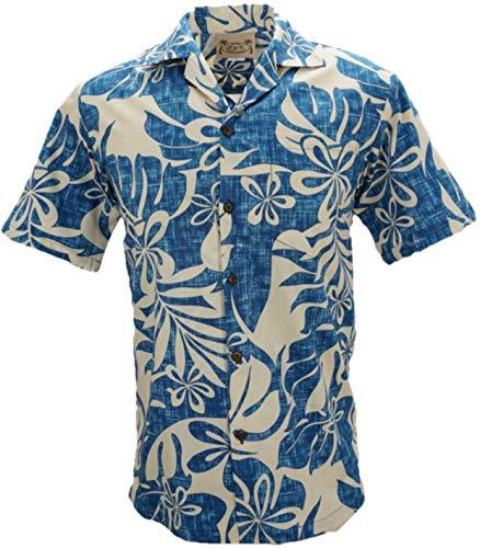 Tropical Luau Beach Cotton Print Men's Hawaiian Aloha Shirt (X-Large, Floral Ferns Blue)