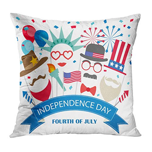 Ortrial Throw Pillow Cover Print Polyester Fourth July Background Booth Props Fireworks Decorative Sofa Bedroom Hidden Zipper Pillowcase Patio Outdoor 18 x 18 Inches