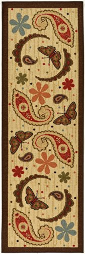 Ottomanson Sara's Kitchen Paisley Design Mat Runner Rug with Non-Skid (Non-Slip) Rubber Backing, Beige, 20'' x 59'' by Ottomanson (Image #3)