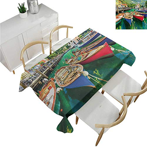 Italy,Table Covers,Summer Landscape and Wooden Boats on The Lake Garda Torbole Town Fishing Maritime,Rectangular Polyester Tablecloth 50