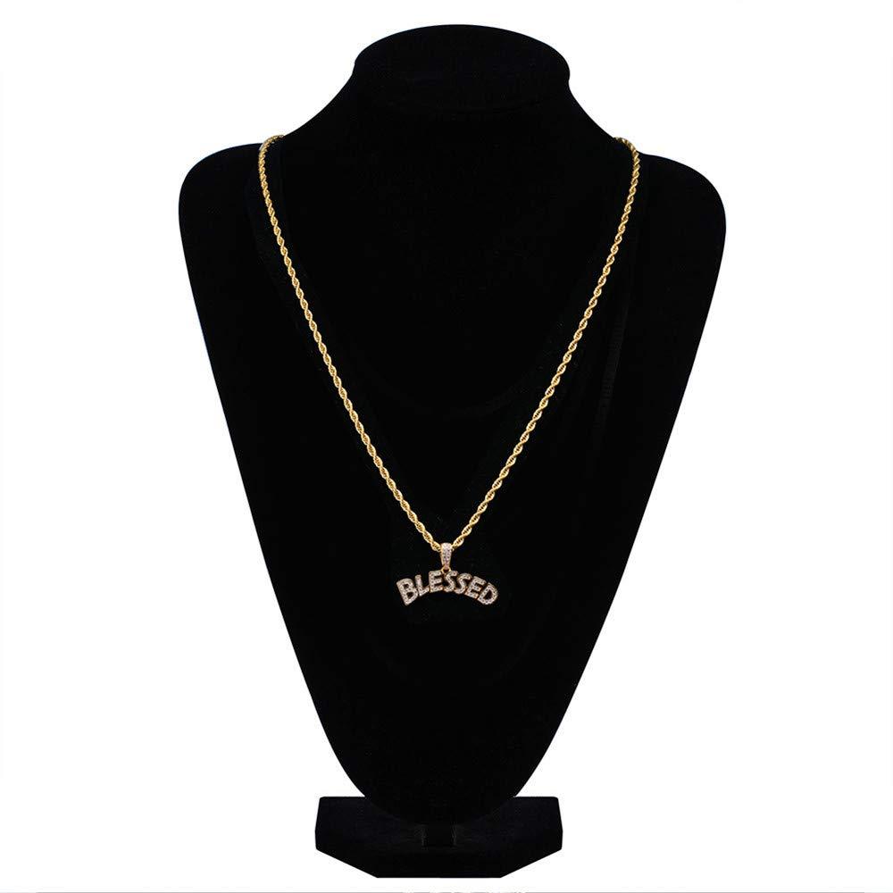 MCSAYS Uomini Hip Hop Jewelry Lettera Blessed Ciondolo CZ zircone Bling Collana Accessori