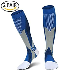 Compression Socks for Men & Women (2 Pairs), SGIN (20-30 mmHg) Great for Medical, Nursing, Travel, Flight, Shin Splints,Boost Stamina sock, Circulation,& Recovery (Blue)