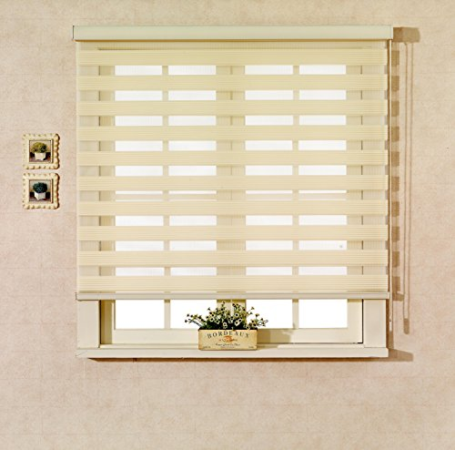 Custom Cut to Size , [Winsharp Echo , White , W 27 x H 64 (Inch)] Horizontal Window Shade Blind Zebra Dual Roller Blinds & Treatments , Maximum 91 Inch Wide by 103 Inch Long