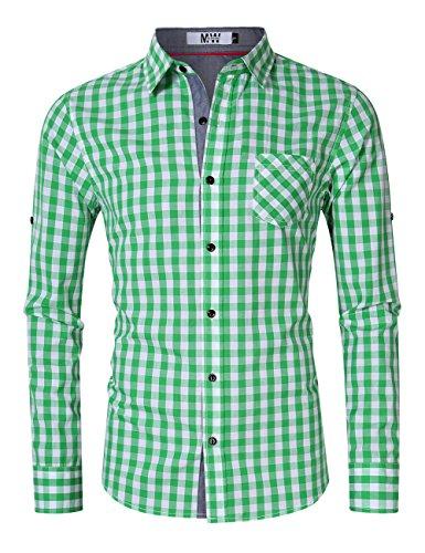 Plaid Dress Shirt - MrWonder Men's Casual Fit Button Down Long Sleeve Plaid Dress Shirts Green M