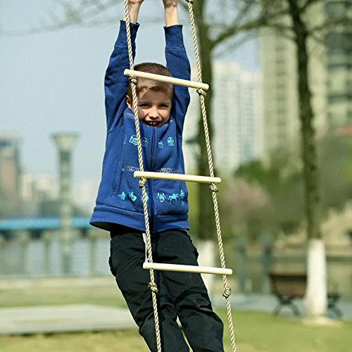 Feileng 5 Steps Climbing Wooden Rope Ladder for Kids Indoor Outdoor Playground by Feileng (Image #7)