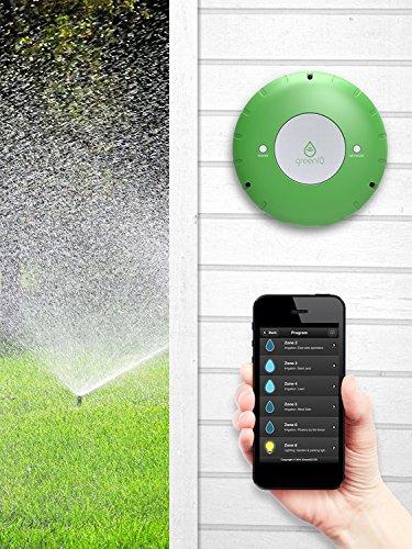 "GreenIQ Smart Sprinkler Controller 6 Zone Wi-Fi Waterproof Hub + GreenIQ 1"" Flow Meter - Works with Alexa"