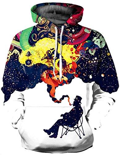 SAINDERMIRA Unisex Fashion 3D Digital Galaxy Pullover Hoodie Hooded Sweatshirt Athletic Casual with Pockets(Smoking, L/XL)