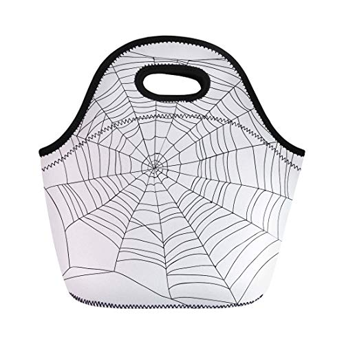 Semtomn Lunch Tote Bag Cobweb Abstract Drawing of Spiderweb on Spider Halloween Lace Reusable Neoprene Insulated Thermal Outdoor Picnic Lunchbox for Men Women ()