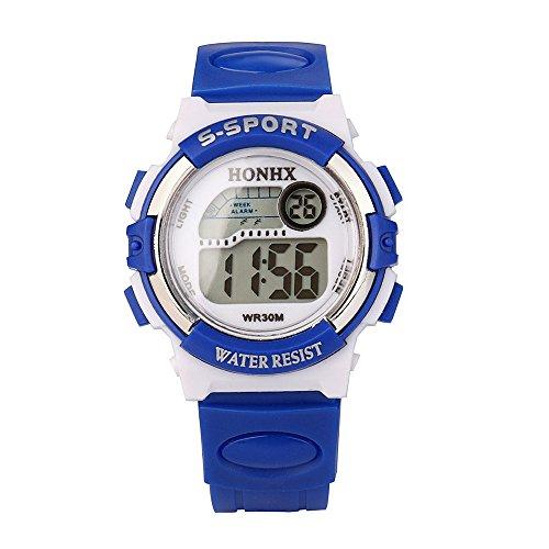 (Respctful✿Kids Digital Sport Watch, Boys Girls Waterproof Sports Outdoor Watches Casual Electronic Analog Quartz Wrist Blue)