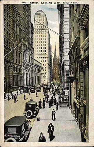 Wall Street, Looking West New York, New York Original Vintage Postcard